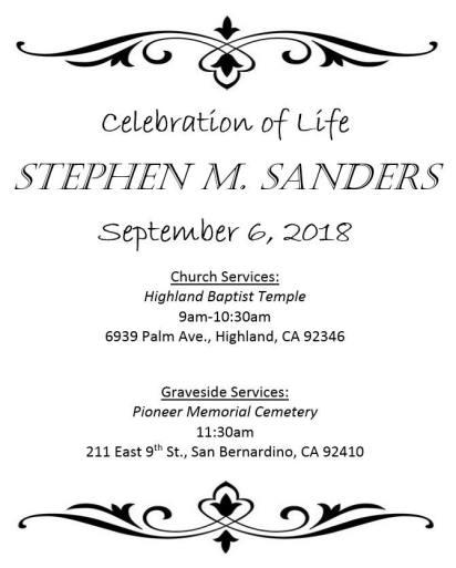 Stephen's Memorial Svs